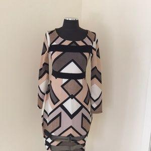 NWT! Fire Los Angeles Large Printed mesh dress